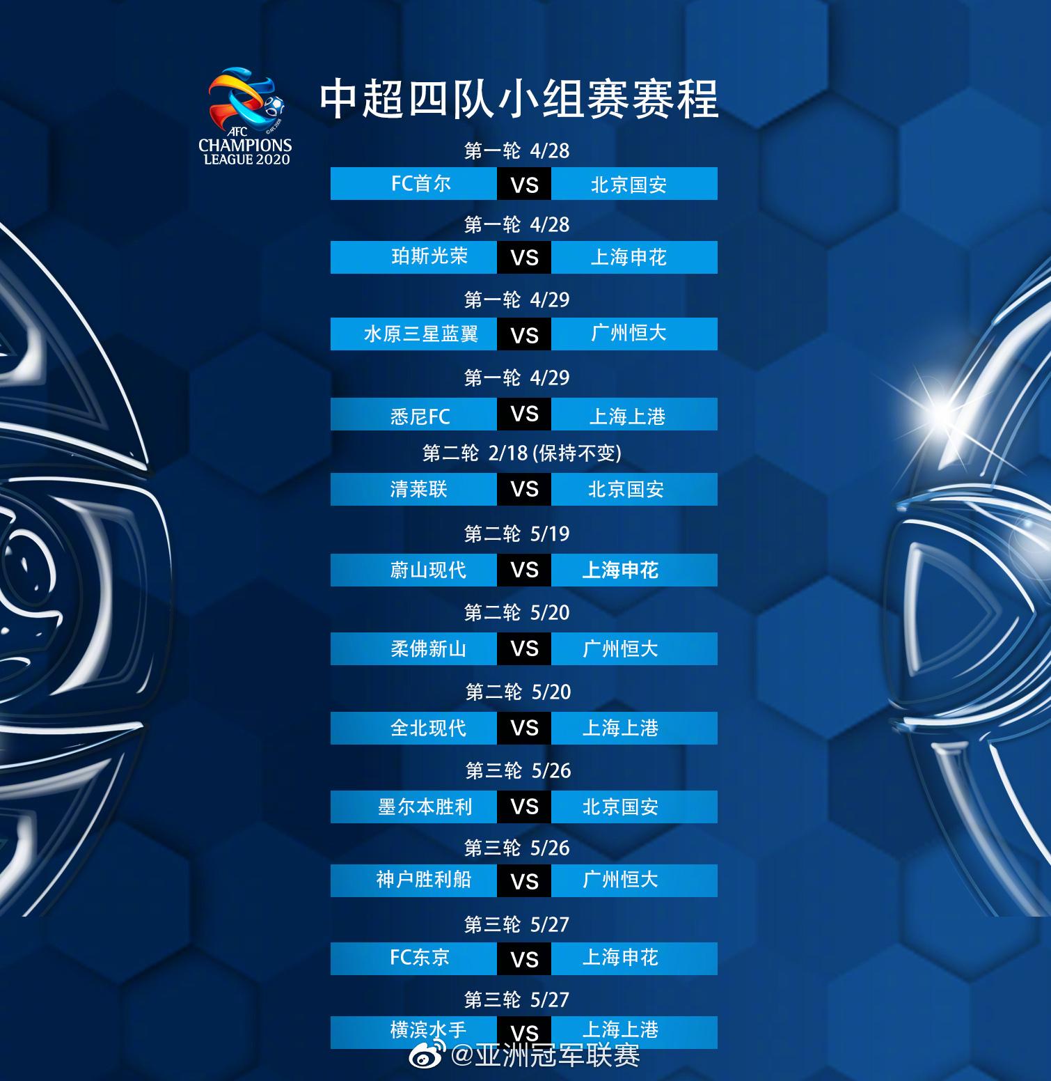 2020亚冠联赛中超4队小组赛赛程