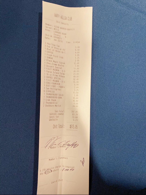 孙宇晨携4名币圈人士与巴菲特共进晚餐,并送了他1个比特币
