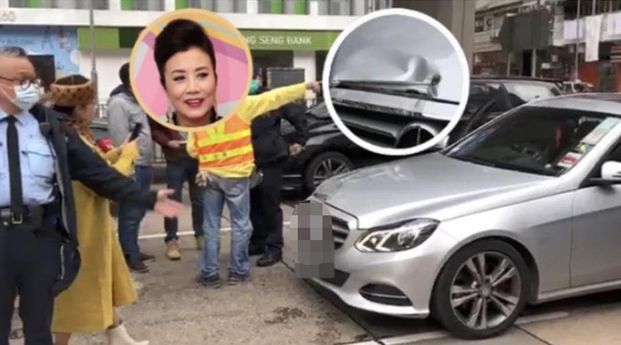 汪明荃开豪车却出车祸,下车主动承担责任,时髦穿搭有种大姐范儿