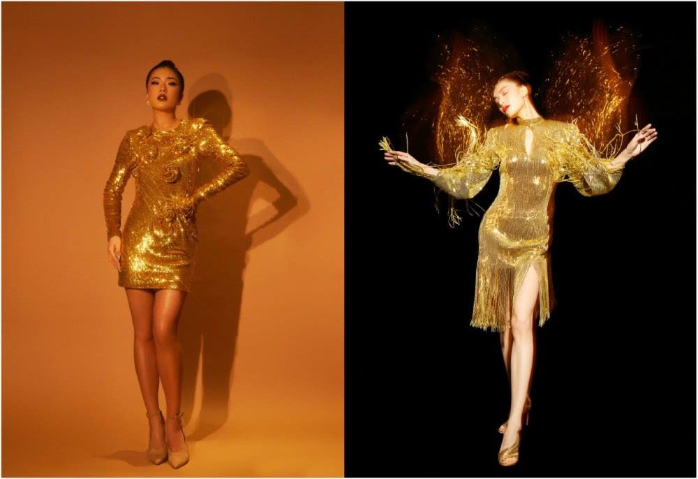 都是金色亮片紧身裙,王菊镶玫瑰花复古大气,钟楚曦配流苏秀美腿