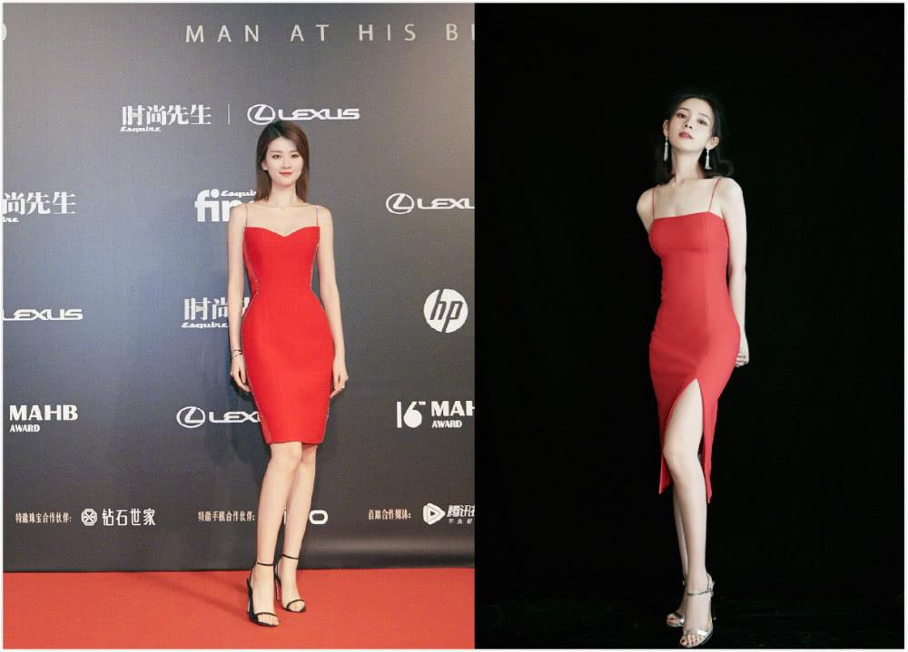 当陈瑶碰上乔欣,同穿红色吊带紧身裙却输了,网友:小腰太抢镜了