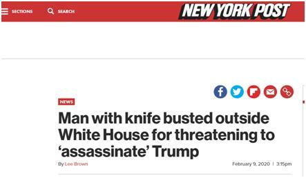 美國25歲男子被捕在白宮附近持刀聲稱刺殺特朗普