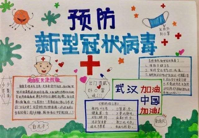 """众志成城,抗击疫情—和政一中学生手抄报为""""武汉加油"""""""