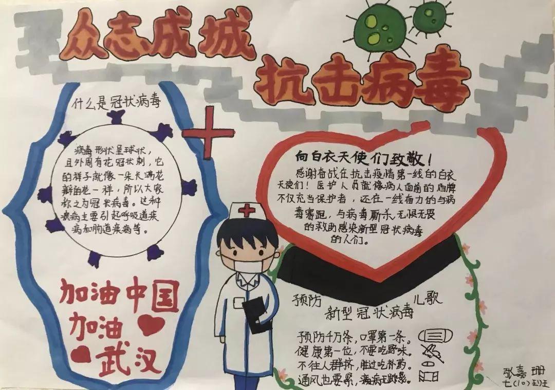 张嘉珊小朋友手绘抗疫海报图片