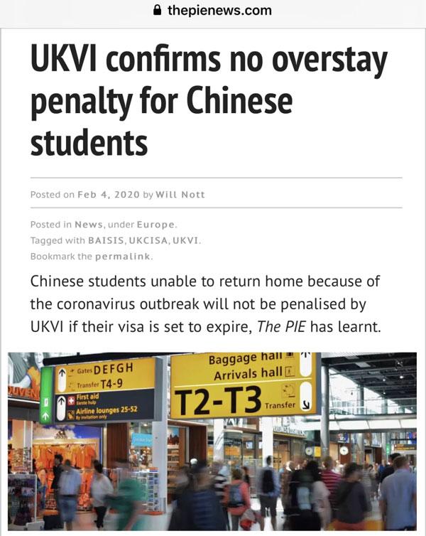 好消息!英国滞留的中国留学生不用担心啦!