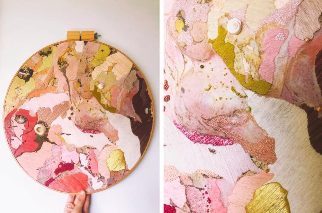 女艺术家将美丽海景,绣成抽象刺绣,你被惊艳到了吗?