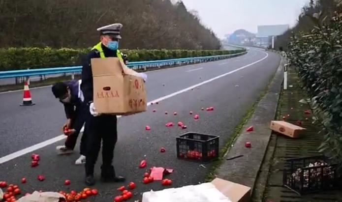 """车辆侧翻高速司机没受伤,他们忙活20多分钟""""抢救""""倾倒蔬菜"""
