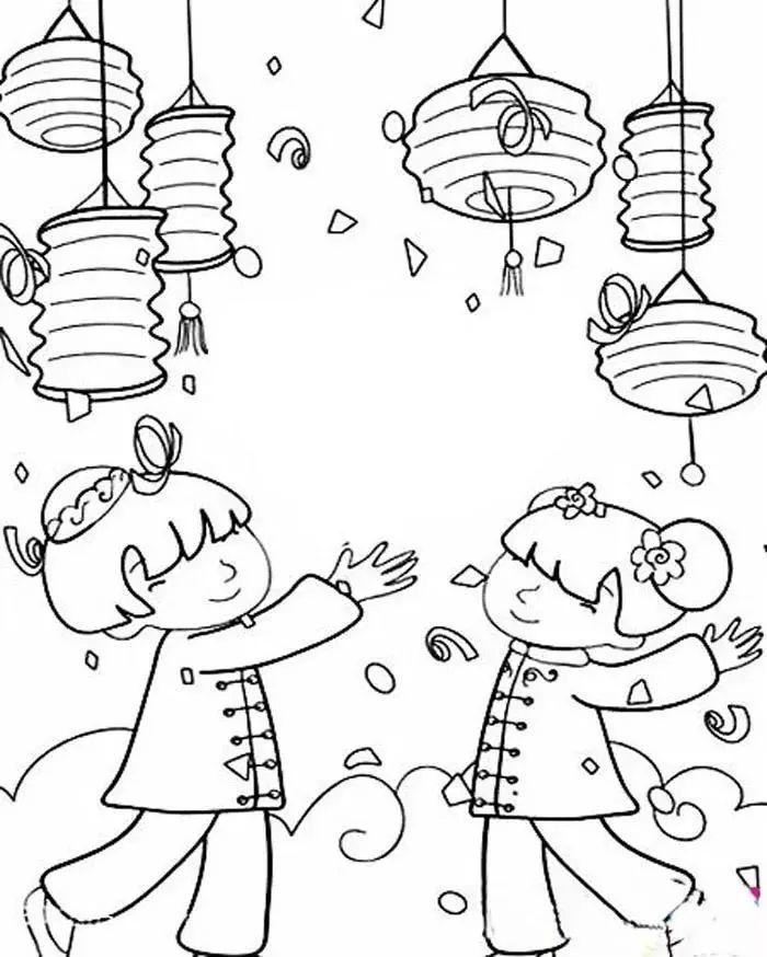 儿童简笔画2017年迎春节简笔画,张灯结彩迎新年 简笔画 故事中国图片
