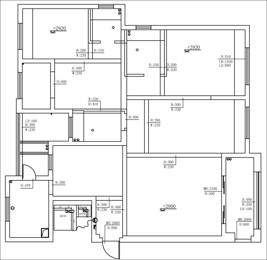 卧室吊顶剖面图 次卧吊顶剖面图 卧室2/3吊顶剖面图 客厅c立面图 客厅