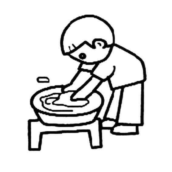 小孩做家务简笔画,人物简笔画教程,怎么画小孩做家务的简笔画图片,帮妈妈做家务的简笔画画法,关于小孩洗衣服的简笔画素材.