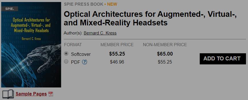 新书上市!HoloLens光学架构师分享AR/VR/MR光学架构方方面面