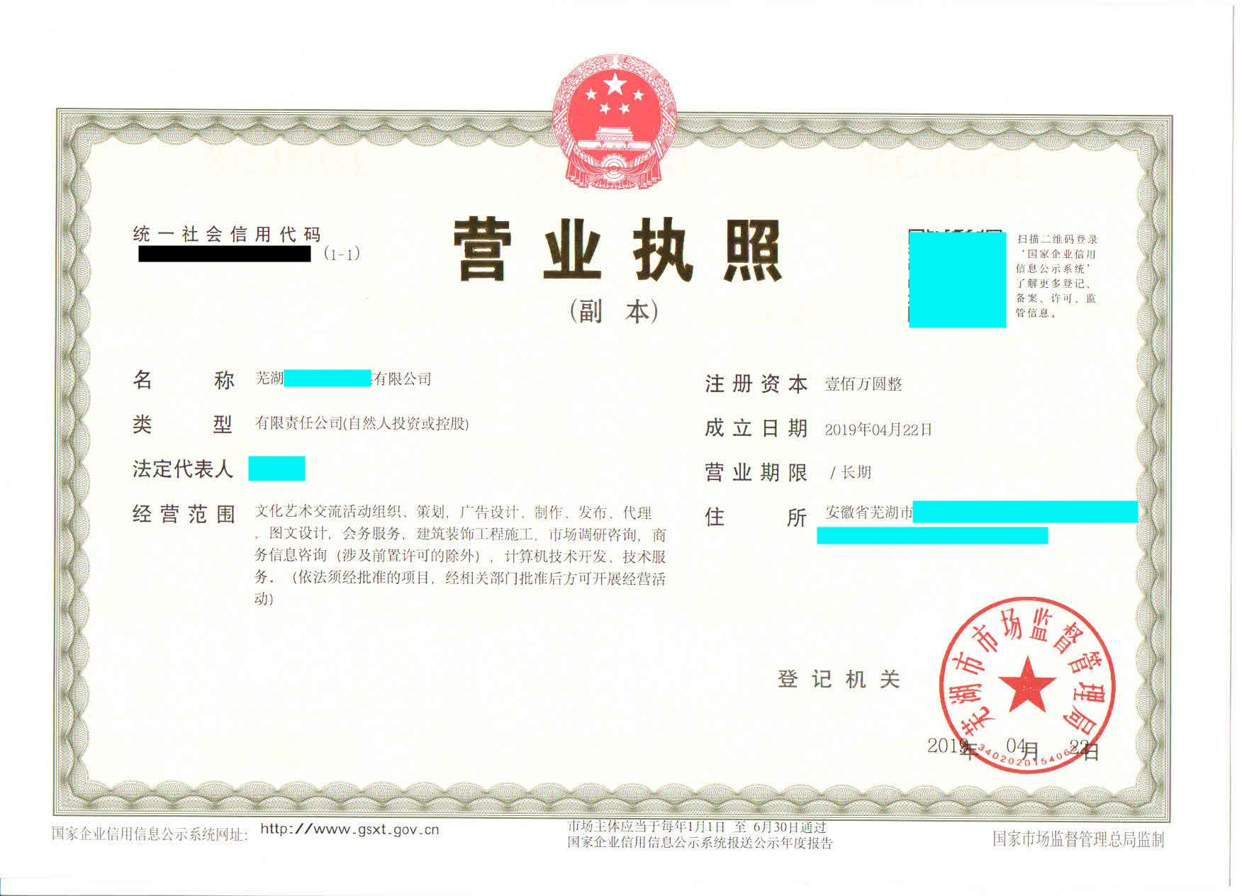 芜湖办理营业执照流程