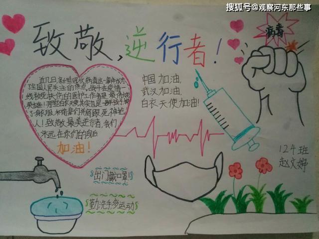 原创盐湖区城西示范学校 开展绘制手抄报形式 为武汉加油 为中国加油
