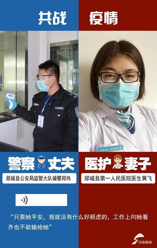 """临沂郯城:疫情一线上的""""蓝白""""夫妻"""