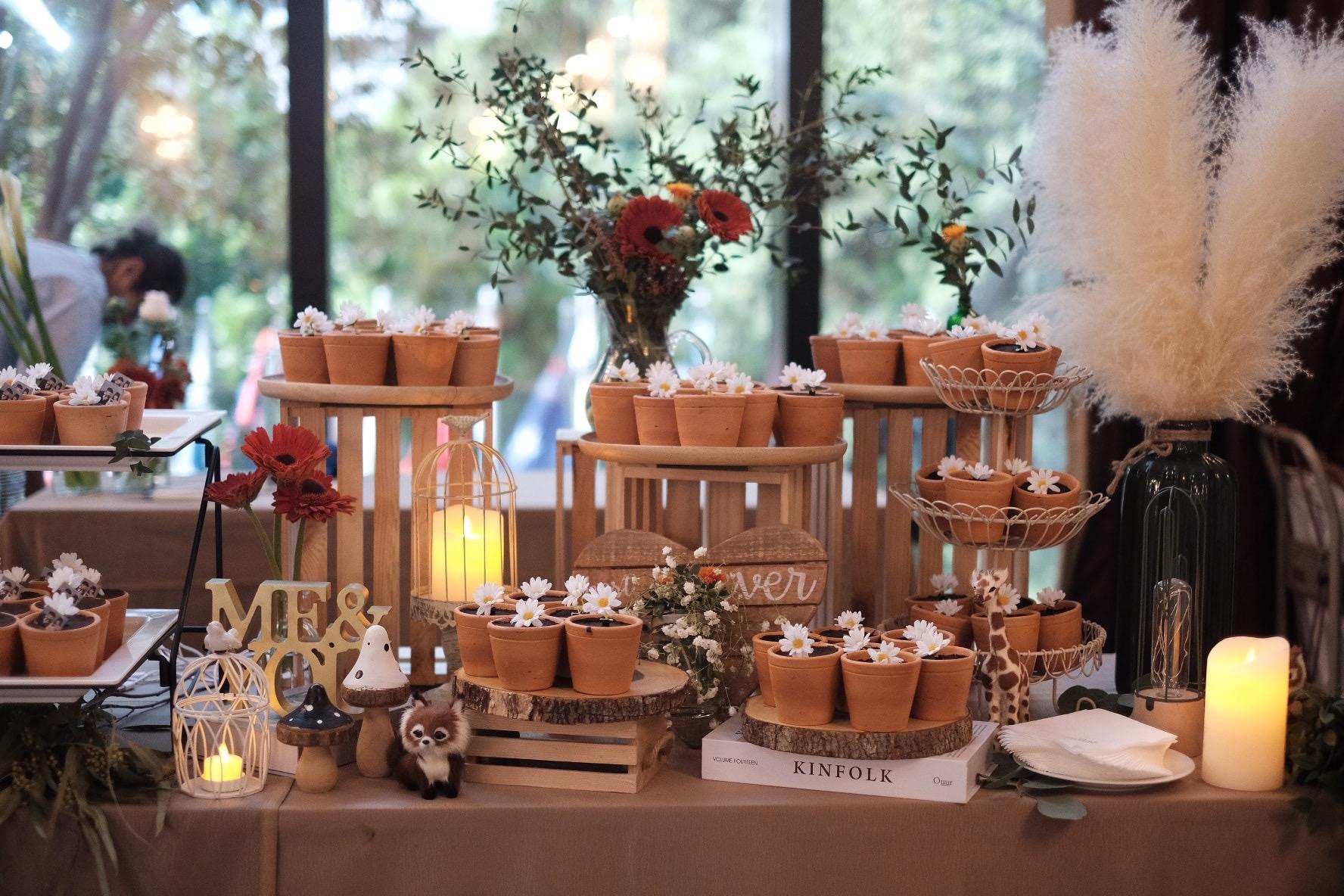 甜品台的方式有很多种,植物盆栽的甜品台更不容错过