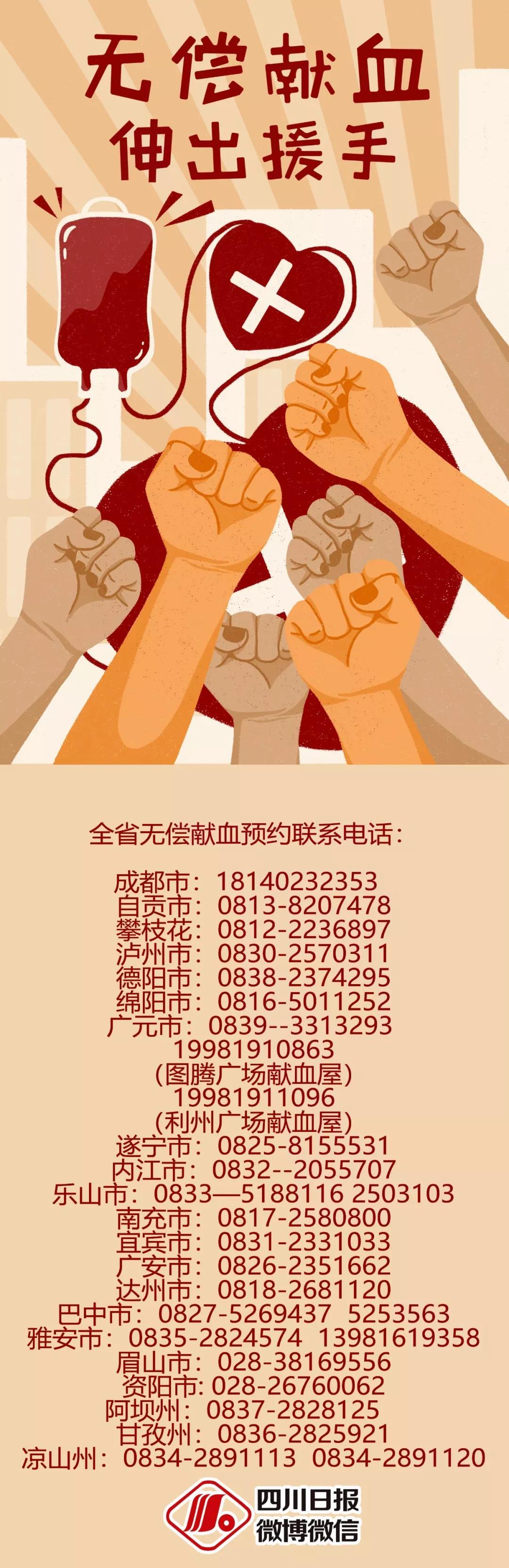 <b>血液库存不断告急!致四川人民的无偿献血倡议书,我们需要你!</b>