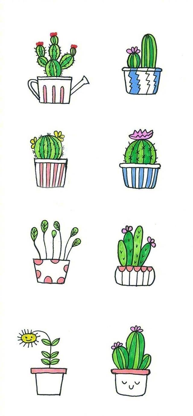 一波小盆栽手绘简笔画
