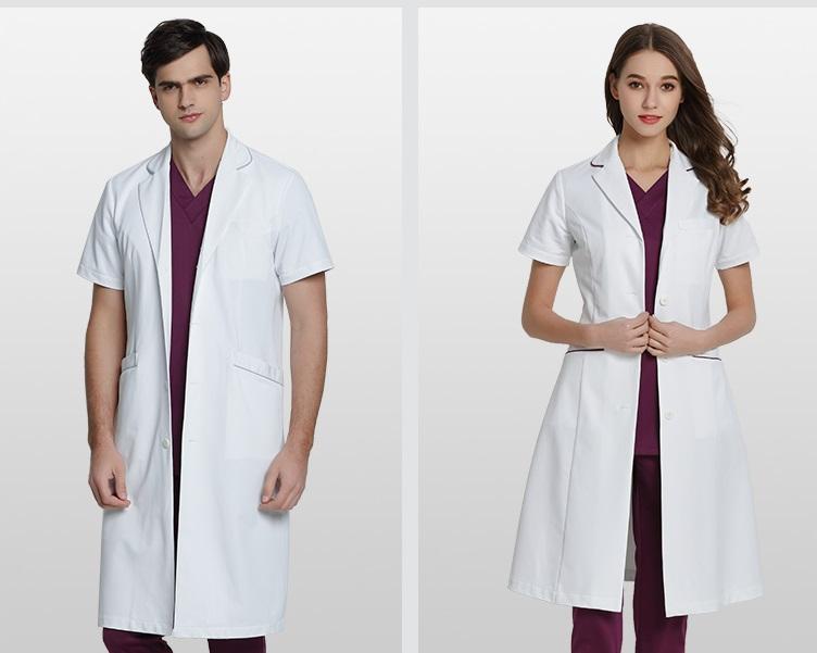 「乐倍康」夏季穿的短袖白大褂款式,时尚大气