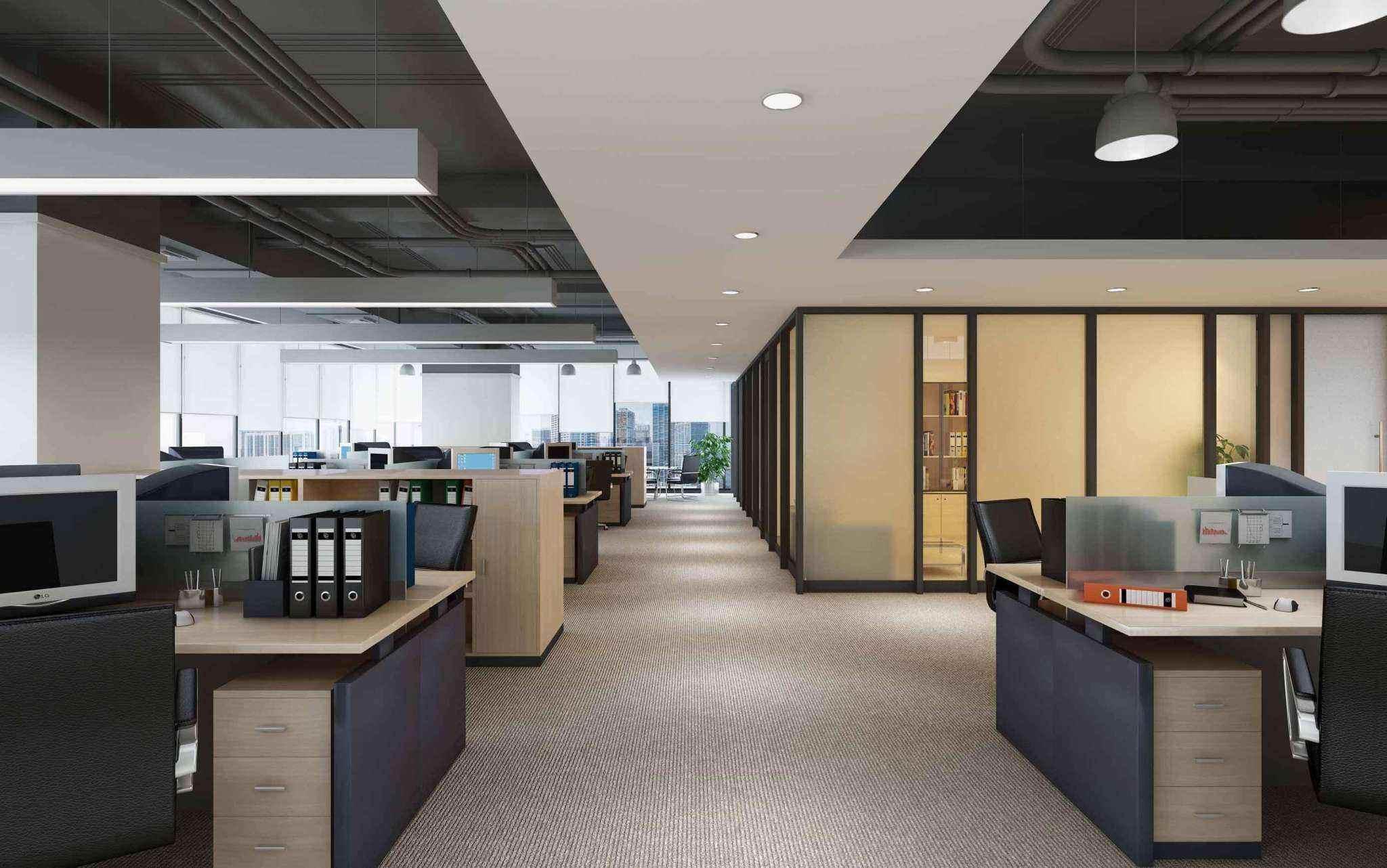 办公室设计图(八):整体办公室装修效果图全景设计图