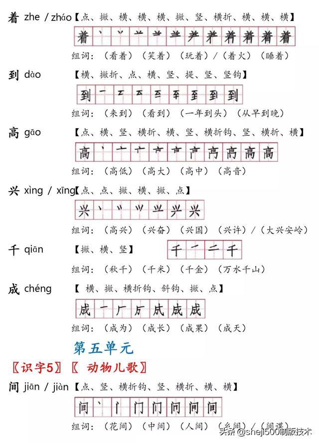 打印版 一下语文生字 注音 笔顺 组词 课文默写训练