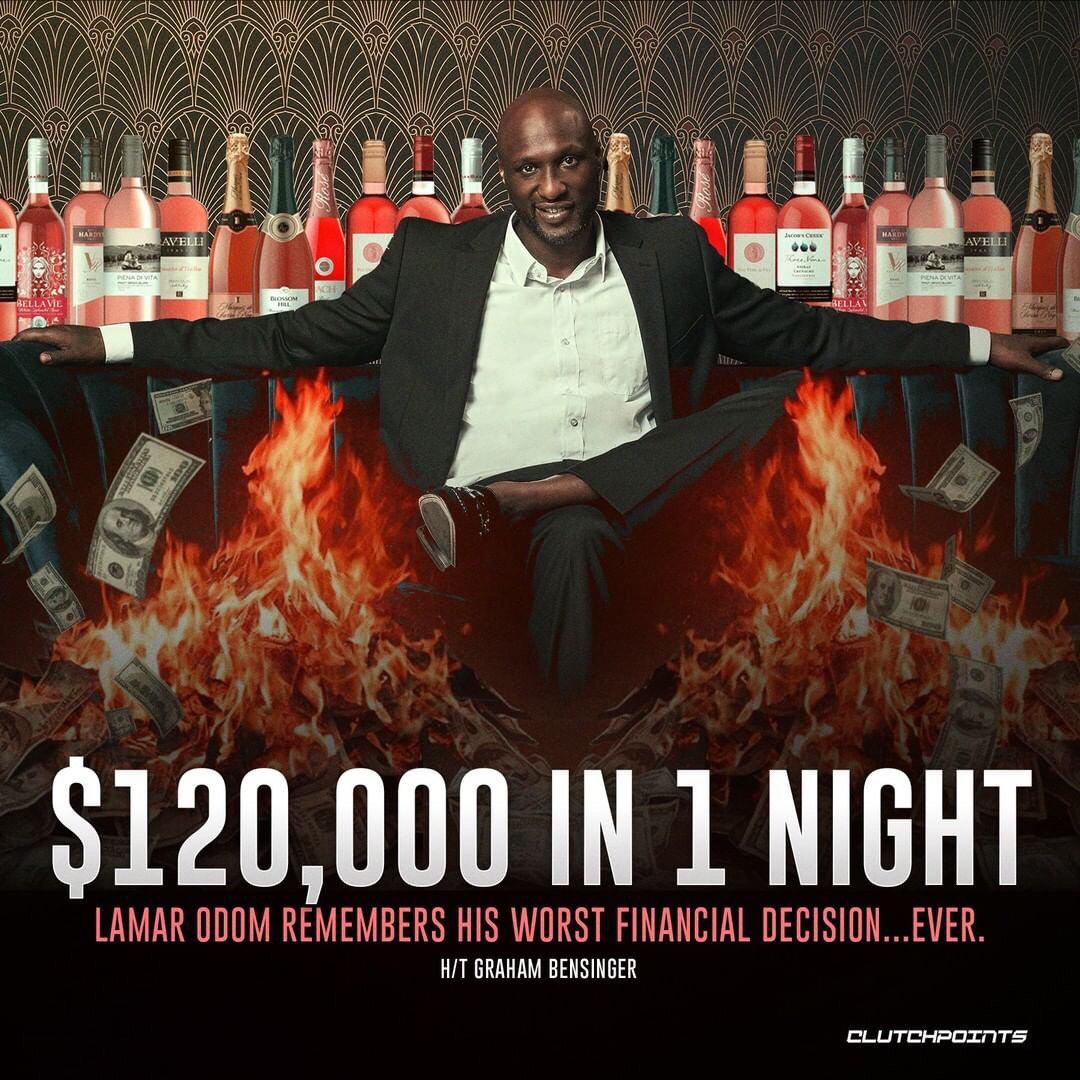 奥多姆自曝夜店斗狠往事 花12万买100瓶香槟挥霍