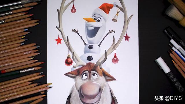 动漫彩笔画,超可爱的雪宝和驯鹿