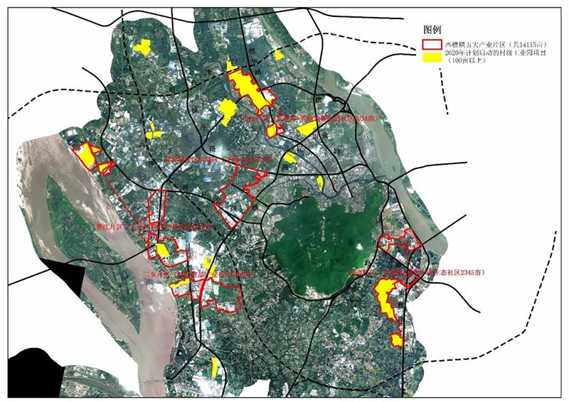 西樵镇五大产业片区规划图,其中,太平-海舟龙船坑地块项目位于三乡片区.