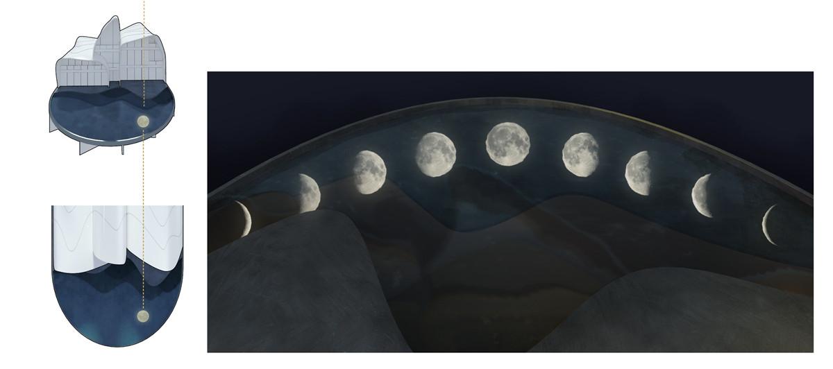 随着时间变化的月亮倒影图片
