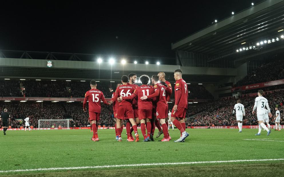 利物浦再赢4场夺英超首冠 或在同城死敌主场加冕