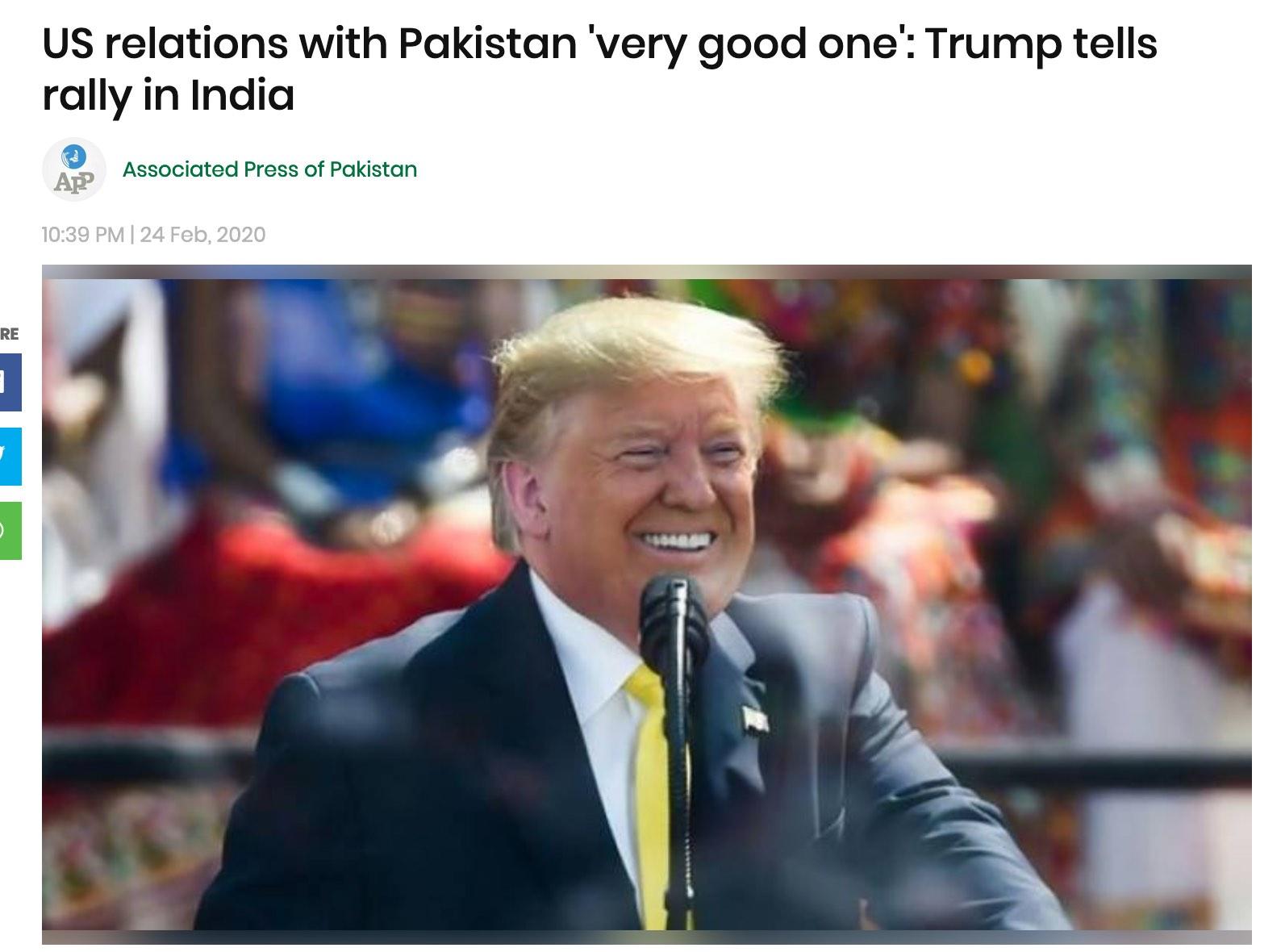 """""""欢呼""""突然安静!当着数万印度民众的面,特朗普说""""我们与巴基斯坦关系非常好"""""""