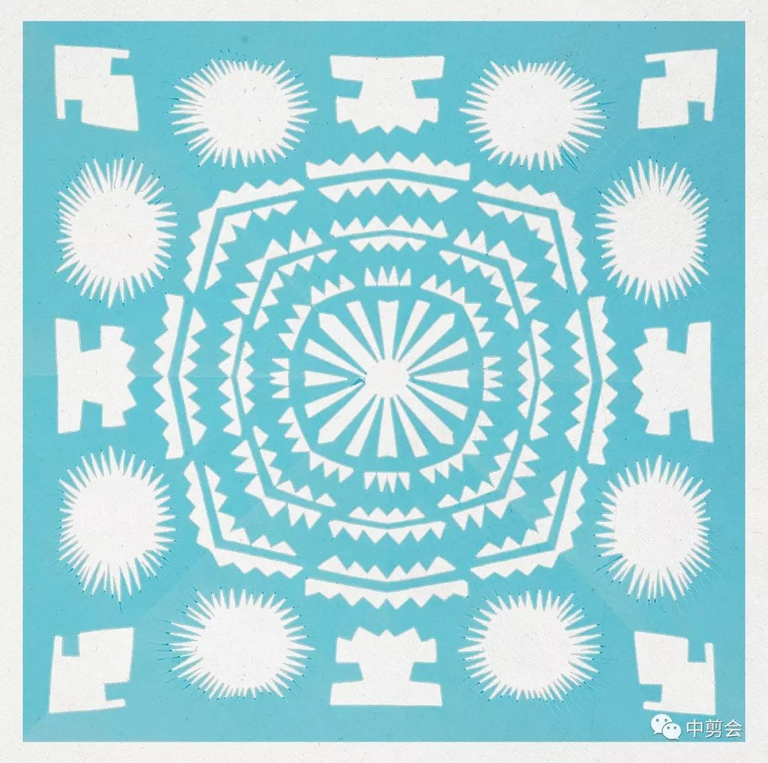 十折团花剪纸图案步骤