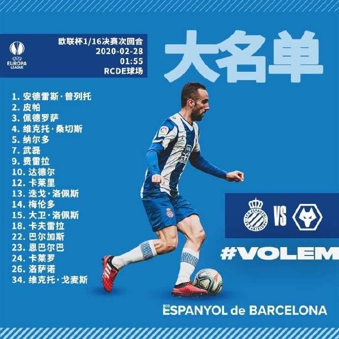 欧联1/16决赛次回合西班牙人名单