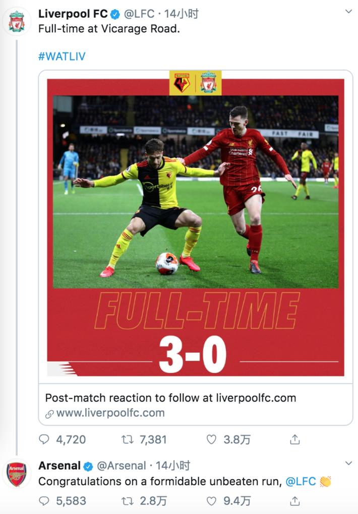 太皮了!阿森纳祝贺利物浦:恭喜,不错的不败纪录