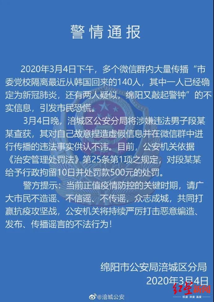 """警方:""""从韩国回绵阳一人确诊"""" 信息系捏造 造谣者被拘10天"""