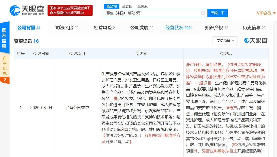 强生中国发生工商变更 经营范围新增消毒产品批发、销售