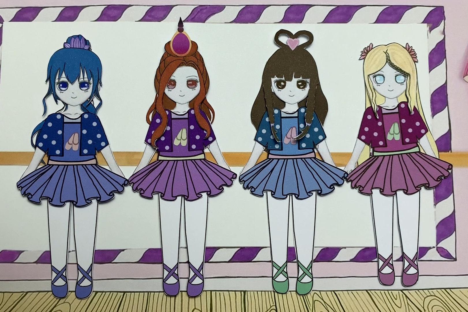 纸娃娃手工换装秀:给叶罗丽仙子和战士换上芭蕾舞裙,喜欢吗?图片