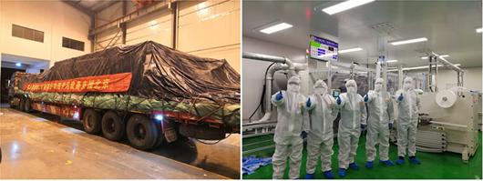 政府商请调拨 富田精工首条平面口罩生产线运达北京