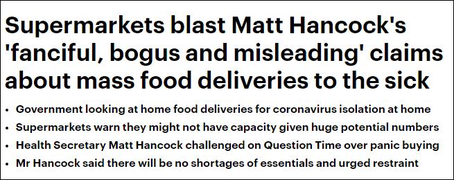 英衛生大臣想為隔離者送貨上門 超市:幻想,除非動用軍隊