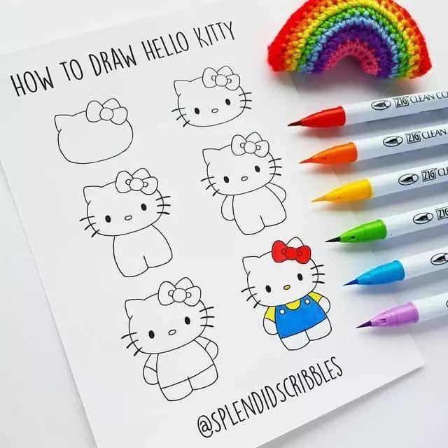 35张简笔画教程 儿童画手账好素材 完整步骤过程图
