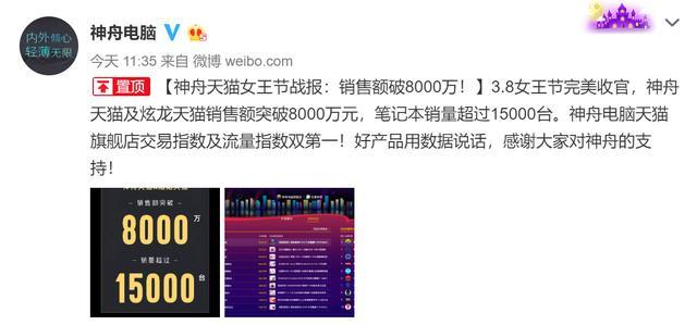 神舟电脑公布战绩,3.8女王节第一,销量超15000台