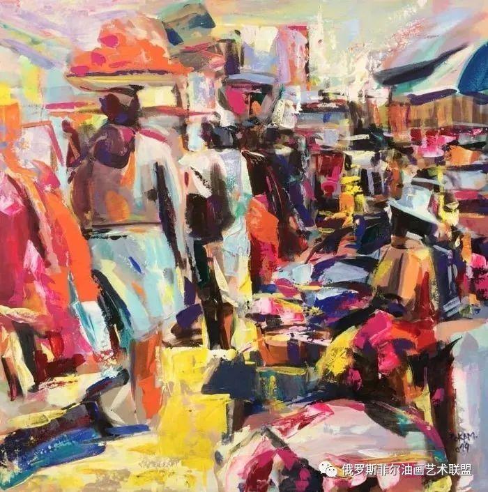 喀麦隆艺术家罗斯坦·波坎油画作品欣赏