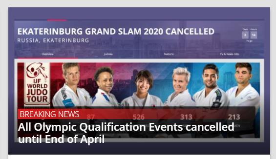 国际柔道联合会:东京奥运会预选赛停办至四月底