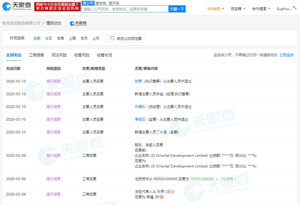 刘强东卸任旗下杭州进龙物流有限公司总经理一职