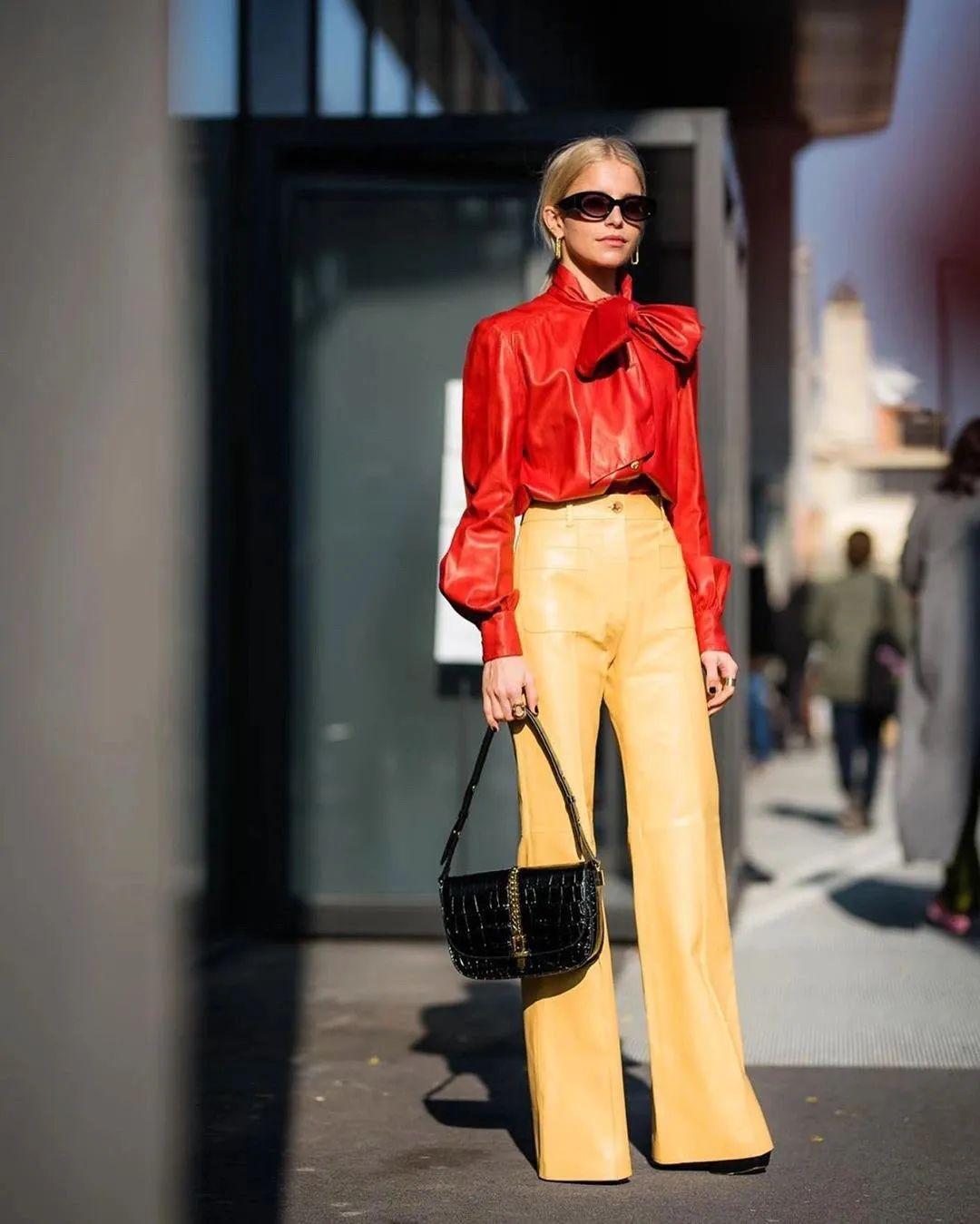 上衣短、下装长,时髦又显高
