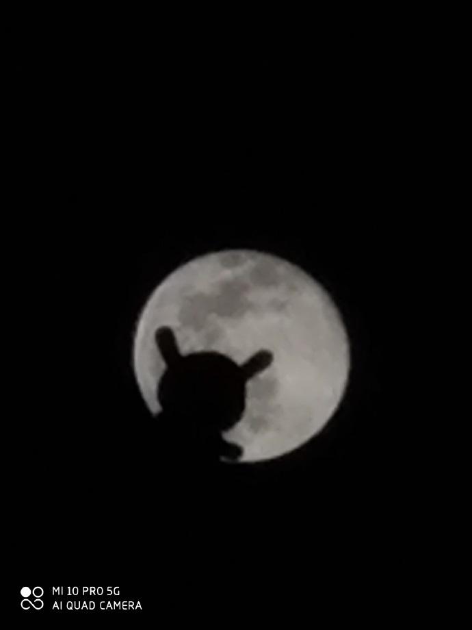 小米10 Pro AI相机拍月亮模式被玩嗨:米兔登月