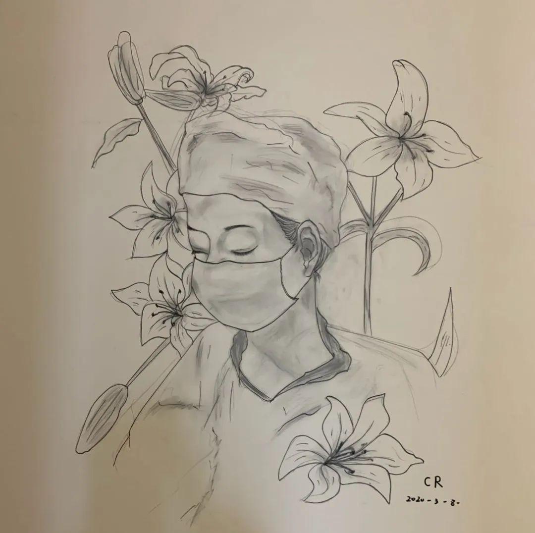 武汉泰康同济医院病房的墙上,最近出现了多幅简笔画