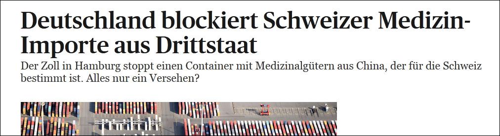瑞士医疗物资被多次截获:德国扣了手套,意大利扣了消毒水...