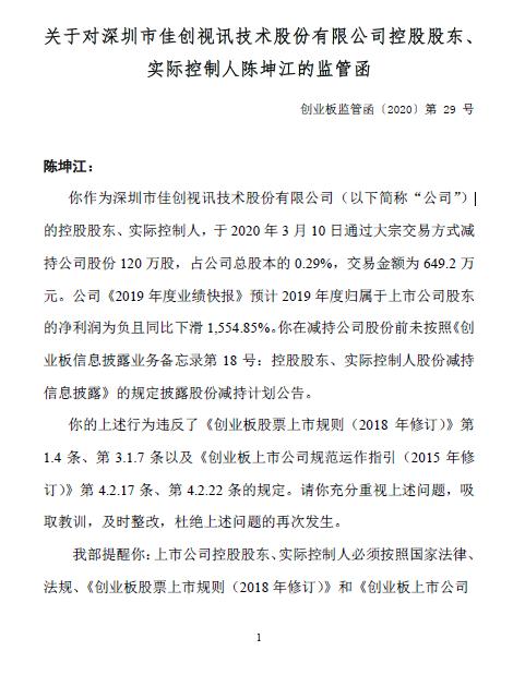 佳创视讯实控人陈坤江违规减持股票收深交所监管函