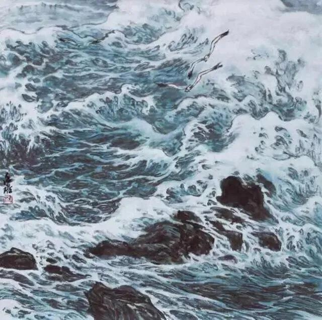 日中国际美术协会会长、海外王雪涛研究会会长、杨永琚笔下的大海