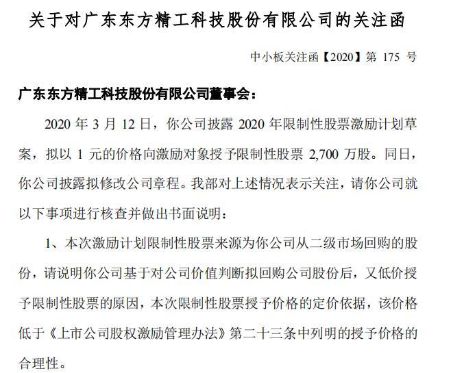 拟推1元限制性股票激励计划东方精工收关注函